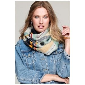 Plaid Infinity Scarf NWT Mint and Gray